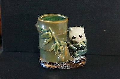 Antique Chinese Toothpick Holder Panda Bamboo China