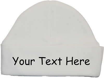 Personalised Design Your Own Wording Baby Beanie Hat/Cap Newborn to 12 Months