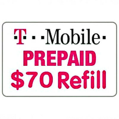 T-Mobile $70 Refill FASTEST REFILL card Credit applied DIRECTLY to PHONE Prepaid