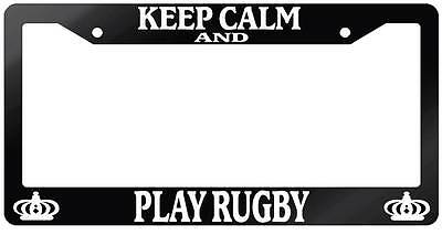 Glossy Black License Plate Frame KEEP CALM AND PLAY RUGBY Auto Accessory