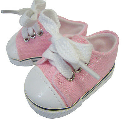 Pink Canvas Deck Gym Shoes Sneakers for Bitty Baby + Twins Doll Clothes