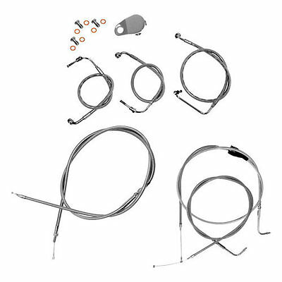 LA Choppers Handlebar Cable/Brake Lines Beach For Harley Stainless Steel