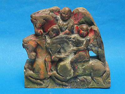 Antique Italian Polychrome Carved Wood Pediment Wall Frieze Sculpture