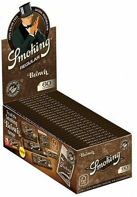 1 Box Cartine Smoking Brown Corte 1 Box 50 Libretti No Cloro Marroni