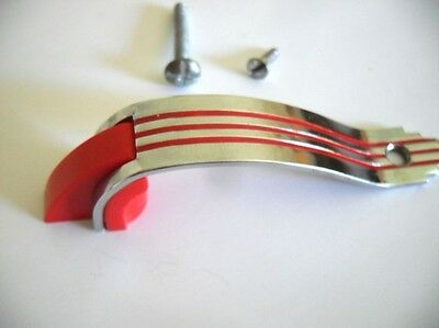 Vintage NOS CHROME Cabinet Door Pulls RED Lines & RED Plastic End Trim Amerock