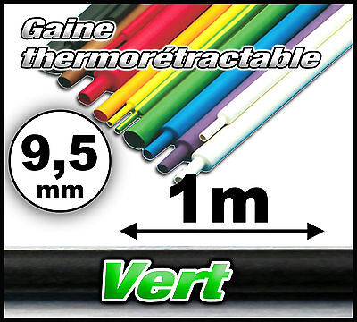 GV9.5-1# gaine thermorétractable verte 9,5mm 1m ratio 2/1 gaine thermo