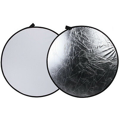 """110cm Photo Studio collapsible 2in1 Light Reflector Disc KIT 43"""" Silver & White"""