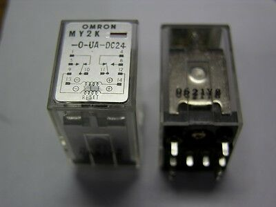 Omron MY2K-O-UA-DC24 24V Latching DPDT Relays PCB/Plug-In Mount