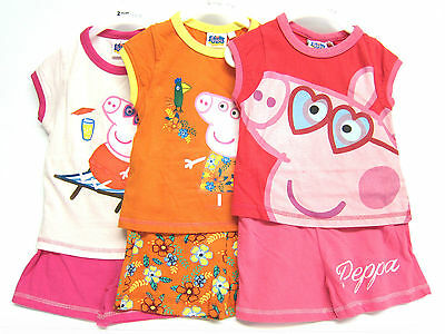 PP34521- Girls Peppa Pig T-Shirt and Shorts Set 3 Colours Available.
