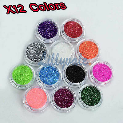 12 Mix Colours Nail Art Craft Acrylic Fine Glitter Powder Pots Tips Decoration