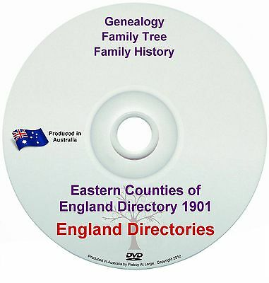 Family History Tree Genealogy Eastern Counties of England Directory 1901 New DVD