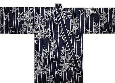 "Japanese Men's Kimono Yukata Robe Dragon Made in Japan 56"" #S EK214"