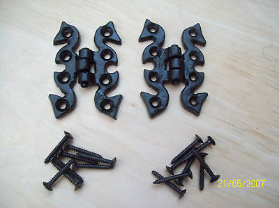 10 x BLACK ANTIQUE CAST IRON ORNATE SNAKE BUTTERFLY BUTT HINGES