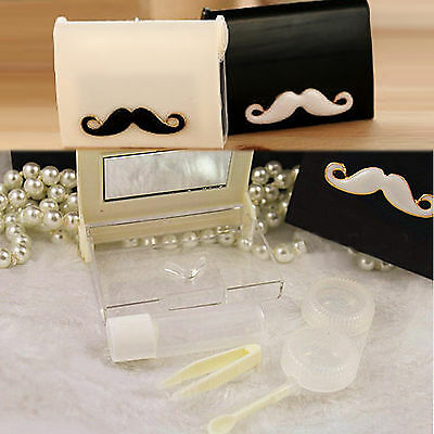 Bow Beard Cute Mini Travel Contact Lens Case Eye Care Kit Holder Box Easy Carry