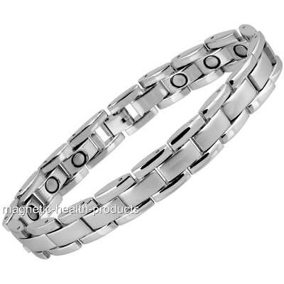 Mens Ladies Magnetic Healing Bracelet Polished Silver Arthritis Pain Relief 6