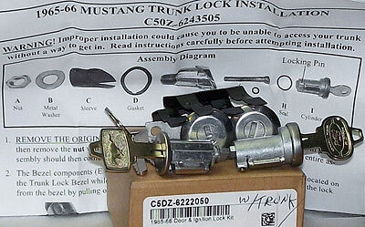 65,66 MUSTANG IGNITION - DOOR MATCHED LOCK SET ,TRUNK  LOCK CYL w/PONY KEYS