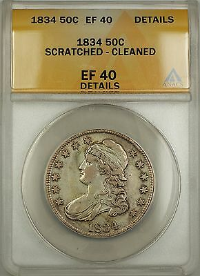 1834 Capped Bust Silver Half Dollar Coin ANACS EF-40 Details Scratched Cleaned