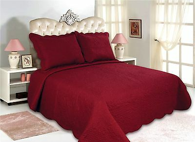 12-All For You 3PC quilt set, bedspread, and coverlet set-burgundy-5 Sizes