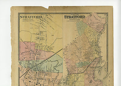 1867 Map of Stratford, Fairfield County, Conn. w/family names - original