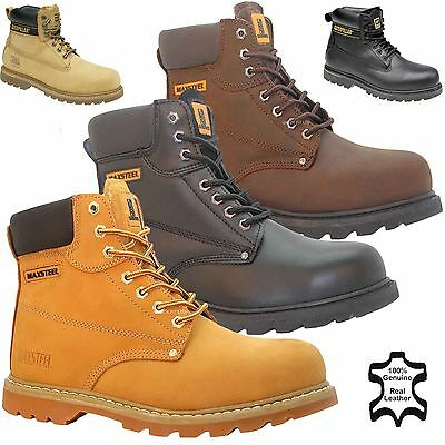 Mens Leather Safety Work Boots Shoes Steel Toe Cap Trainer Hiker Ankle Sz 4 -14