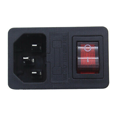 1PC Cord Inlet Power Socket With Red Light Rocker On/Off  Switch  IEC320 C14