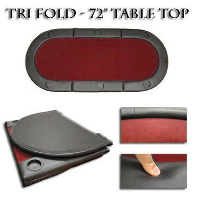 Hold'em Poker Table 3 Fold Red Top 6 Foot x 3 Foot  #15-1301