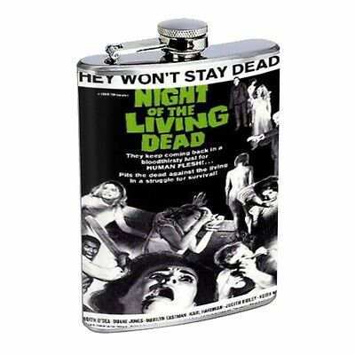 Night of the Living Dead Zombies Flask D100 8oz Stainless Steel Scared people