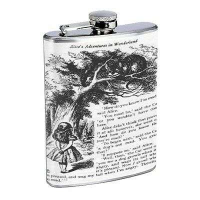 Alice in Wonderland Tenniel Cat Flask D131 8oz Stainless Black and White