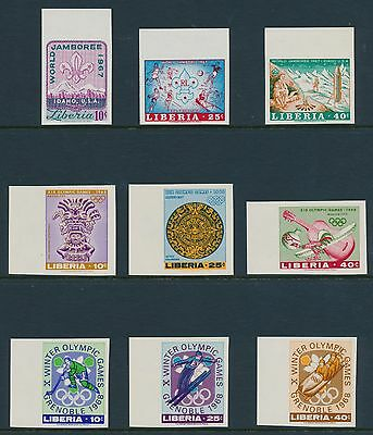 "Liberia #458-63; 473-75 ""World Jamboree & Winter Olympics""  Imperf Errors Br5337"