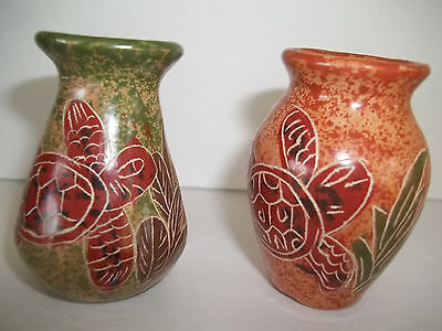 "2 small mini Turtle Etched Vases 2 1/2"" Toothpick Holder Bud Vase Hand done set"