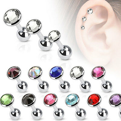 New Surgical Steel 4mm Gem Tragus Cartilage Helix Stud Barbell Choice of Colour