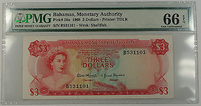 1968 Bahamas Monetary Authority 3 Dollars Note Pick# 28a PMG 66 Gem UNC EPQ