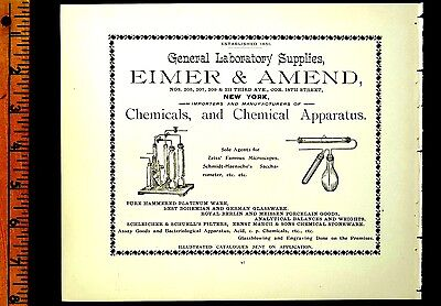 EIMER & AMEND CHEMICALS & APPARATUS 3rd Ave NEW YORK 1895 Antique Full page Ad