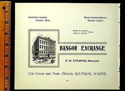 BANGOR EXCHANGE BANGOR MAINE 1895 Antique Advertising Full page Ad