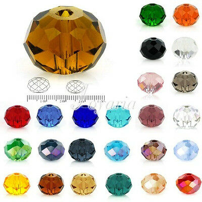 5040 72Pc Crystal Czech Loose Glass Beads 10/12mm Rondelle Faceted For Swarovski