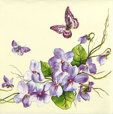 4x Single Table Party Paper Napkins for Decoupage Craft Vintage Purple Butterfly
