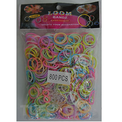 Glow In Dark 800 Rainbow Rubber Neon Loom Band Packet Bag DIY Home Kit Bracelet