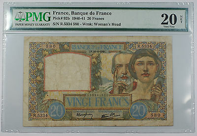 1940-41 France Banque de France 20 Francs Note Pick# 92b PMG 20 Very Fine Rust