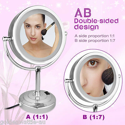 NEW Wall Mounted LED Light Dual Side Magnify Beauty Make up Cosmetology Mirror