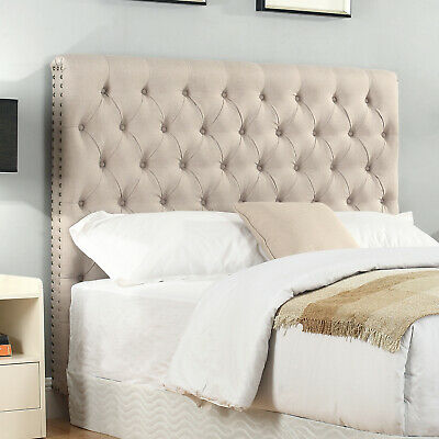 Bed Head Padded Double Upholstered Fabric Button Studded Beige Headboard Sean