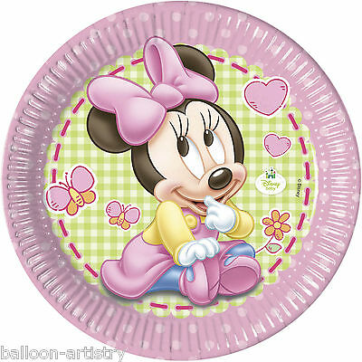 8 Disney Pink Baby Minnie Mouse Party Large 23cm Disposable Paper Plates