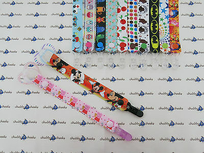 Girl Boy Grosgrain Ribbon Dummy Clip Strap Chain, 50+ Designs To Choose From