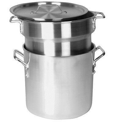 Professional Cookware, 8 Qt Aluminum Heavy Gauge Double Boiler Mirror Finish NEW