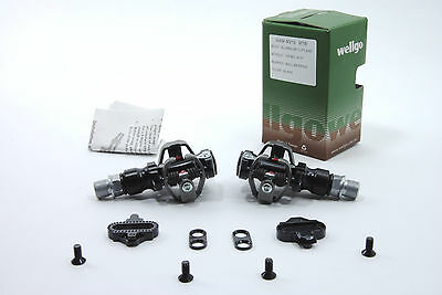 Wellgo M919 Clipless Mountain Bike Pedals with Shimano Comp Cleats, 162g LIGHT!