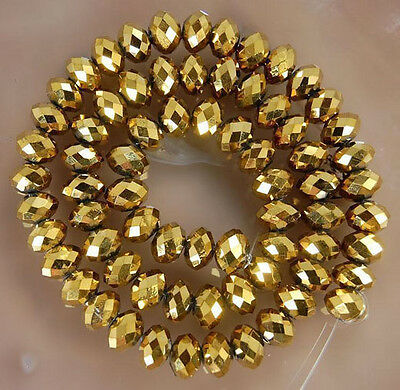 100 (±3) PCS , 4 X 6 mm Golden Faceted Crystal Gemstone Abacus Loose Beads