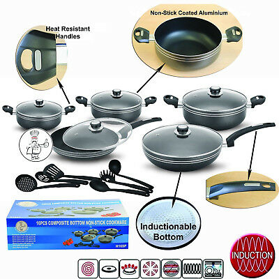 Concord Non-Stick Black Complete Cookware Pan Pot Set Glass Lid Kitchen Utensil