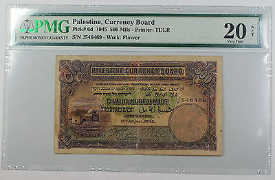 1945 Palestine Currency Board 500 Mils Note Pick# 6d PMG 20 VF Discoloration