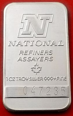 1 oz 999 Fine Silver Bar National Refiners Assayers - Product Of Canada