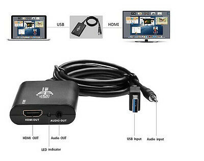 USB 3.0 to HDMI DVI Multi Display Adapter with Audio 1080p for Windows Mac HDTV