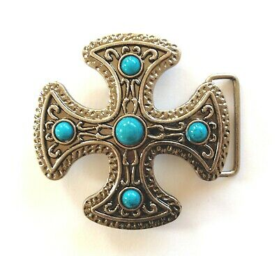 "Belt Buckle - Cross With Turquoise Stones Silver Finish Suits 1.5"" Snap On Belt"